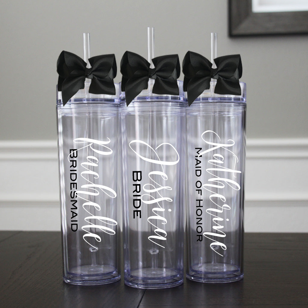 Personalized Bridesmaid Tumblers with Bow