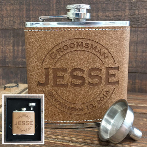Custom Leather Flask & Funnel Gift Set