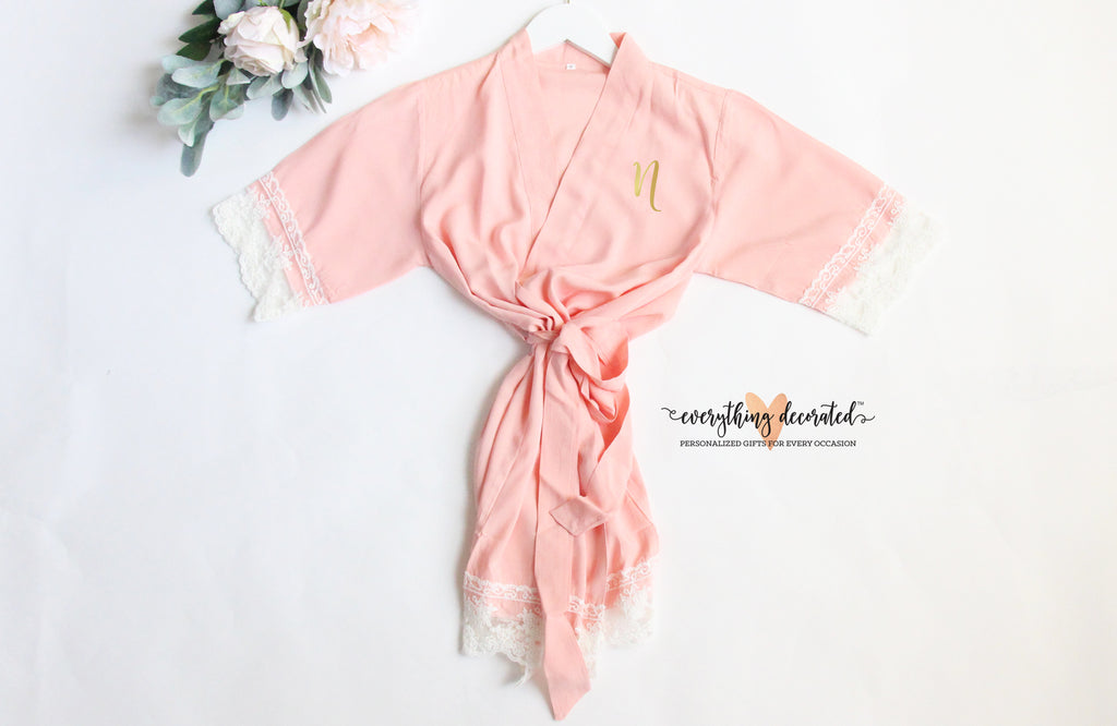 Cotton Lace Flower Girl Robe Monogrammed