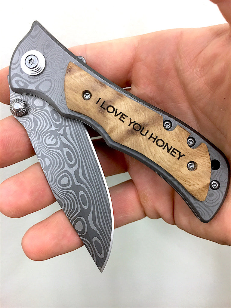 I love you honey engraved pocket knife