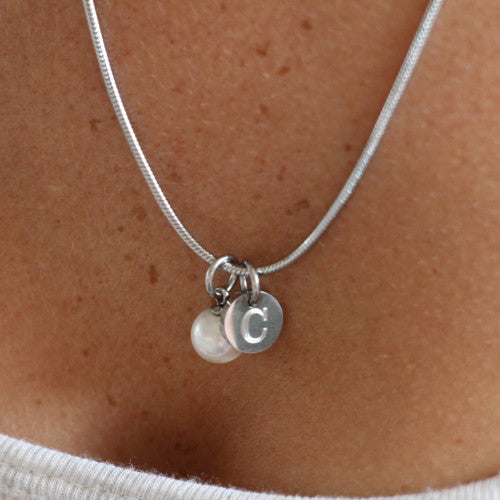 Personalized initial Pearl necklace