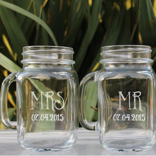 Mr Mrs Wedding Toasting Mason jars