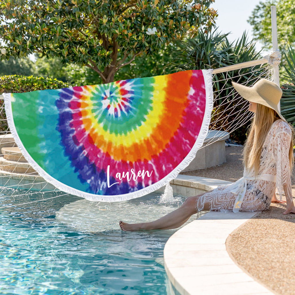 Personalized Round Towel - Tie-Dye