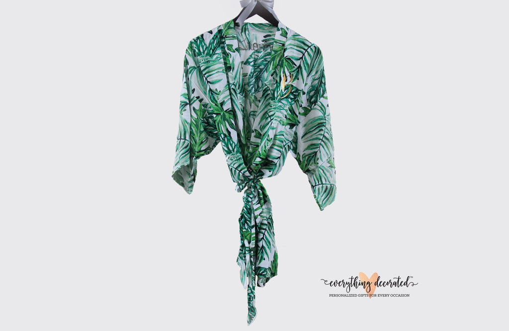 Monogram Palm Leaf Cotton Robes
