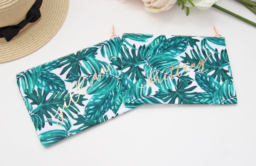 Palm Leaf Makeup Bag