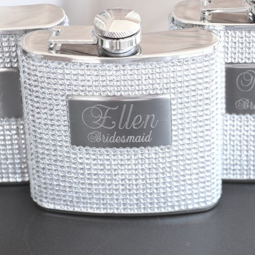 Silver Bling Sparkle Flasks Engraved
