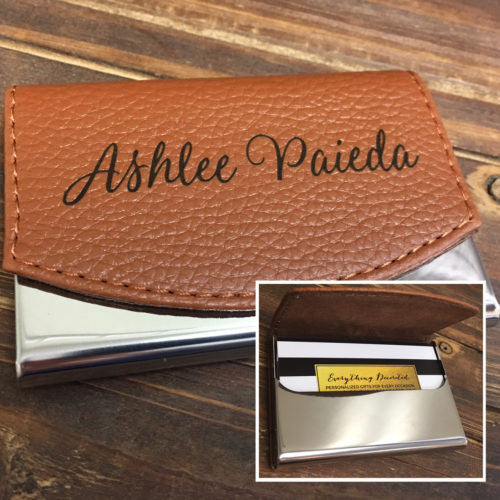 Leather personalized business card holder choice image business personalized business card holder laser engraved custom card case everythingdecorated business card holder colourmoves colourmoves