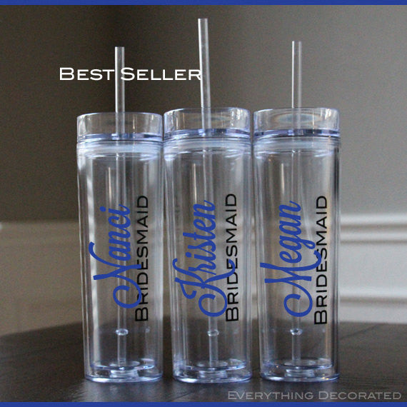 Skinny Acrylic Tumbler Lid Straw Personalized Bridesmaid gifts