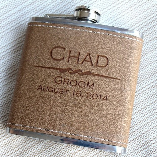 Engraved leather Groom flask Gift