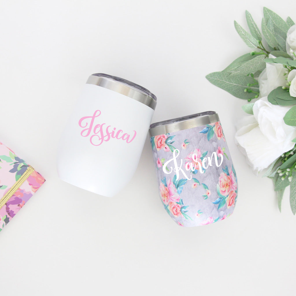 Grey Floral Stemless Cup