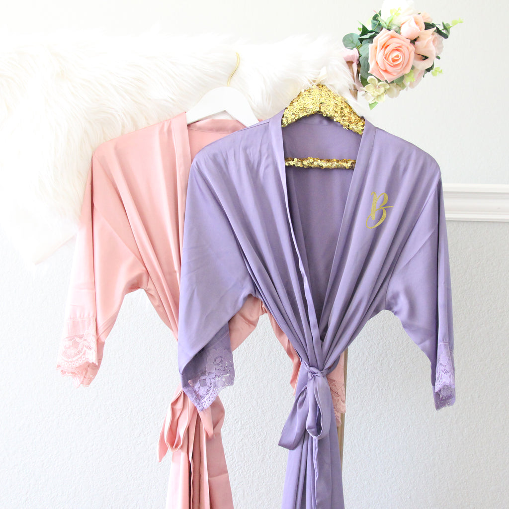 Satin Lace Trimmed Robe