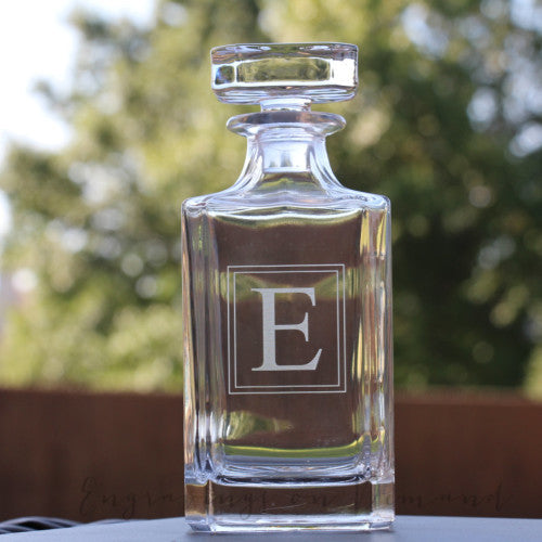 Single Letter Monogram Glass Decanter