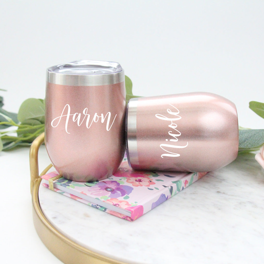 Rose Gold Stemless Wine Cup