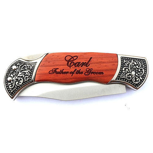 Rosewood Deco Grip Pocket knife engraved