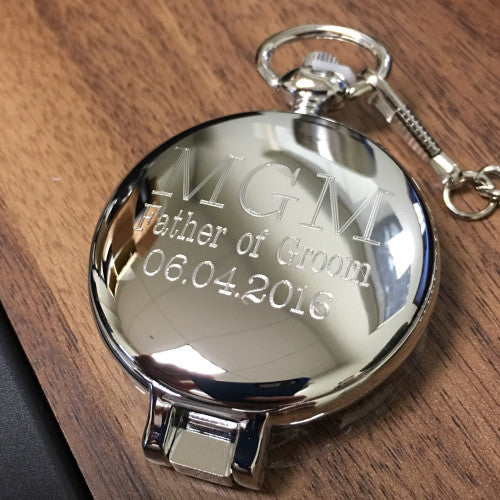 Engraved Pocket Watch Silver