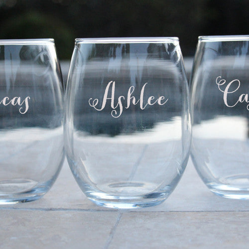 Laser Engraved Stemless Wine Glasses