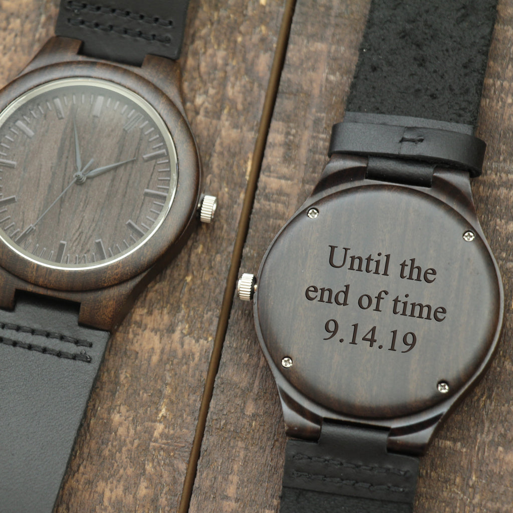 Engraved wood watch