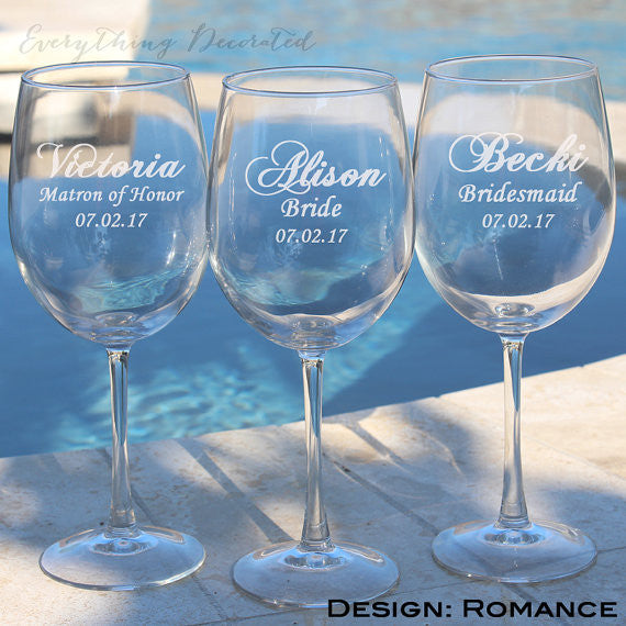 Engraved Bridesmaid Wine Glasses