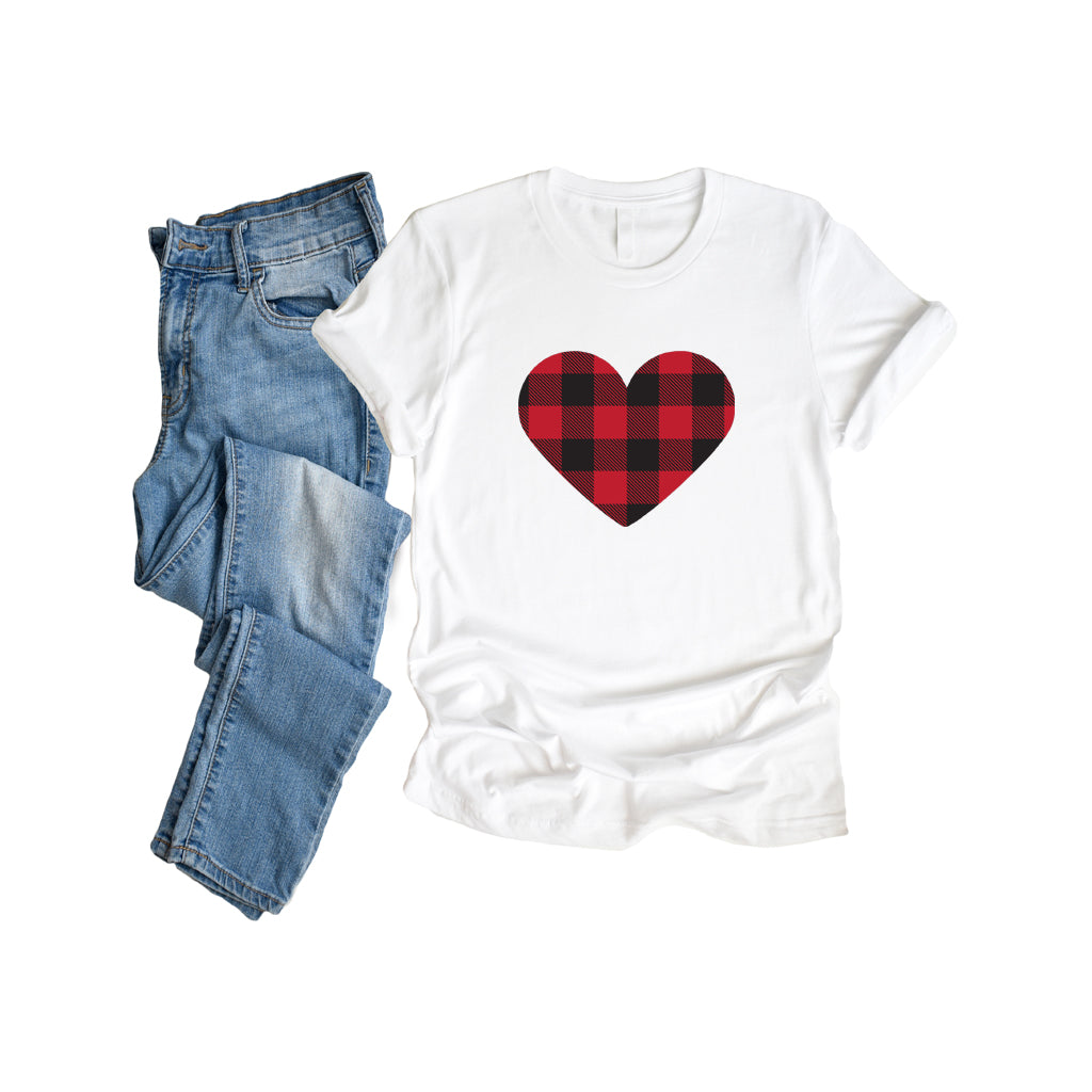Buffalo Plaid Heart T Shirt