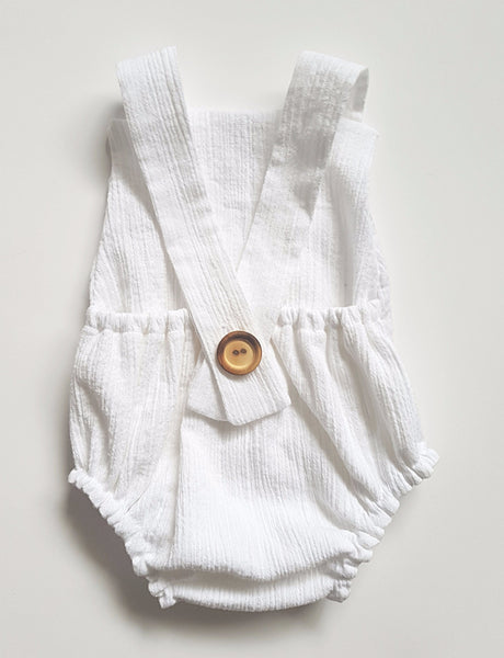 austen romper in fresh white