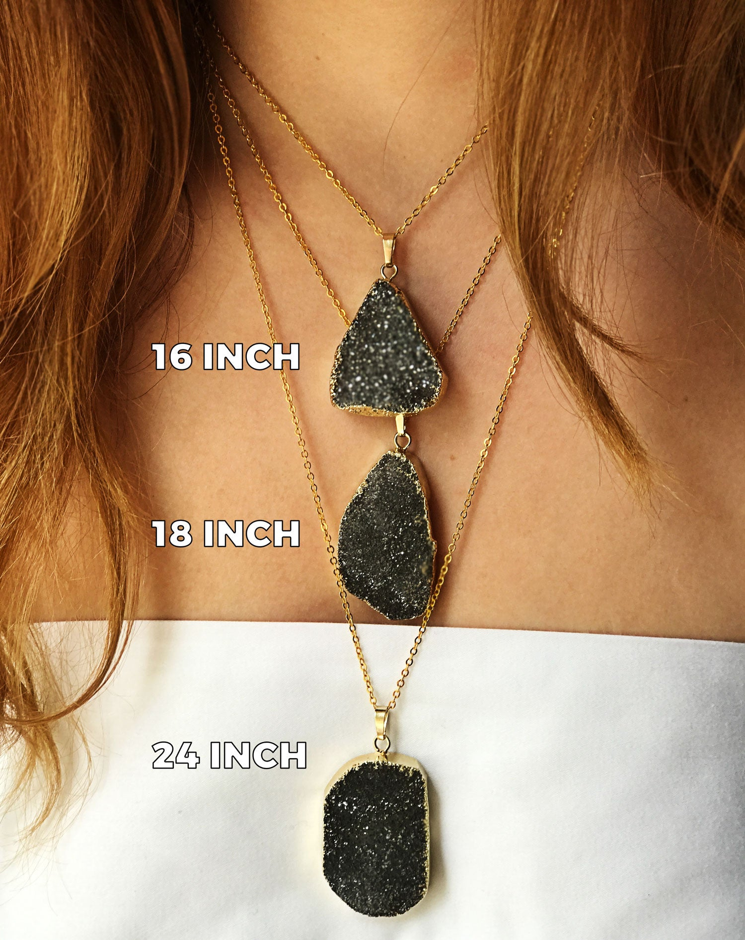 Black Druzy Agate Necklace Size Chart