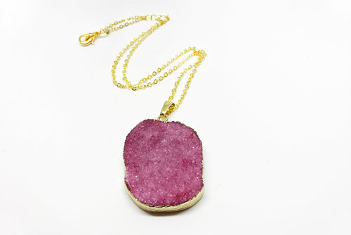 Pink Druzy Agate Necklace