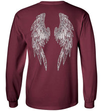 "Horse Angel's ""Pledge"" Long Sleeve Tee with Wings on Back (white logo)"