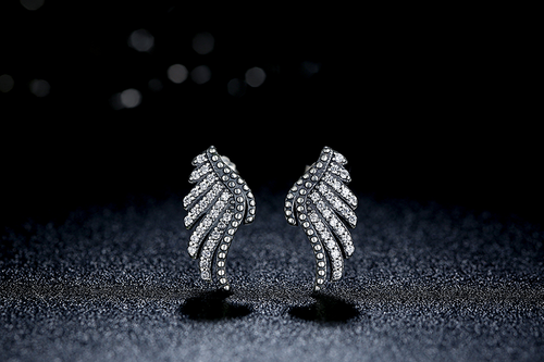 Majestic Sterling Silver Angel Feathers Stud Earrings with Clear Cubic Zirconia