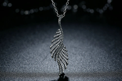 Majestic Sterling Silver Angel Feathers Pendant Necklace with Clear Cubic Zirconia