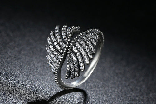 Majestic Sterling Silver Angel Feathers Ring with Clear Cubic Zirconia