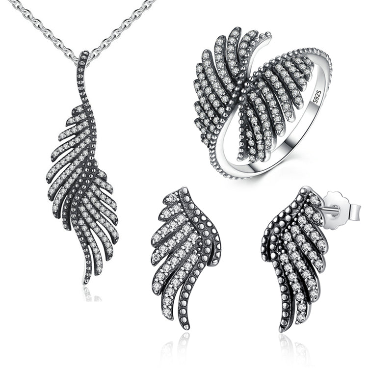 Majestic Sterling Silver Angel Feathers Set with Clear Cubic Zirconia