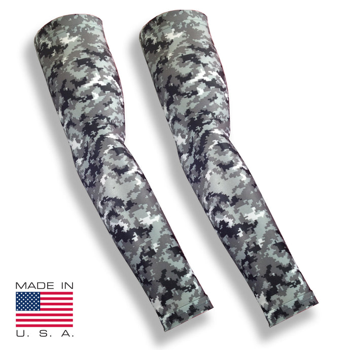 Grey Digital Camo Fishing UV Protective Arm Sleeves