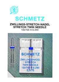 Schmetz Stretch Twin Needle 2.5mm, Size 75