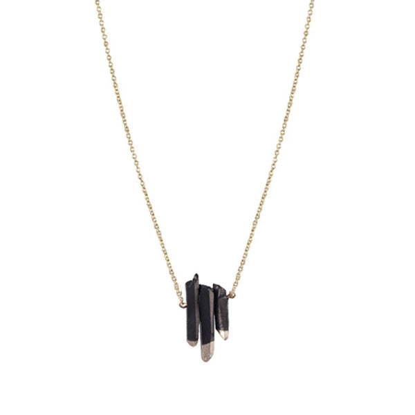 LOST & FAUNE - COLLIER TRIO DE PIERRES NOIRES & OR