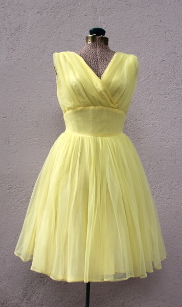 kokono VINTAGE - Robe jaune 1950 / Yellow dress from 1950 fait à la main. Hand made.