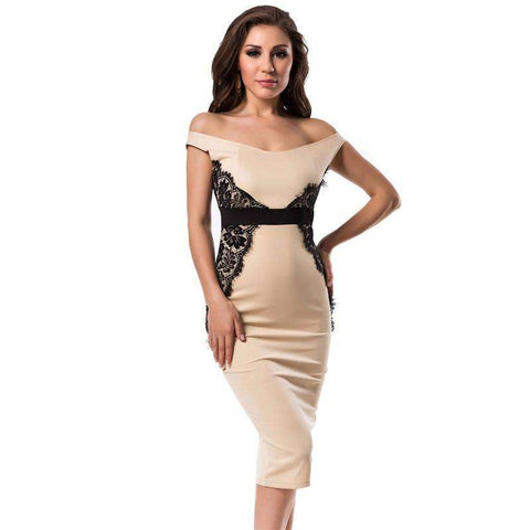 low neck sleeveless work dress beige - Tooty Store