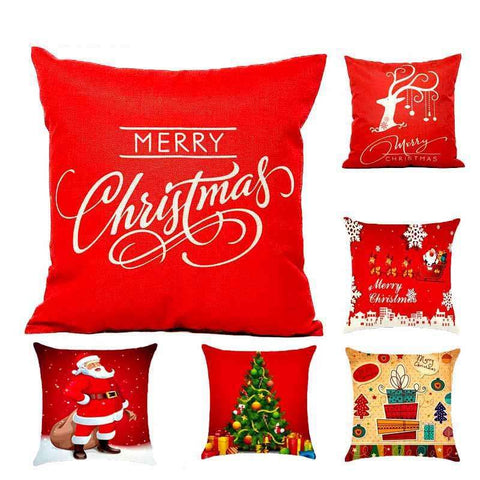 Christmas Decorations Reindeer Jute Pillow Cover