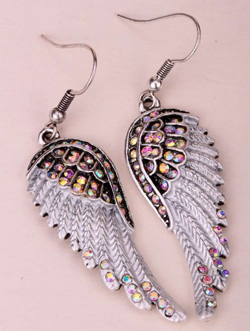 Angel wings dangle earrings antique - Tooty Store