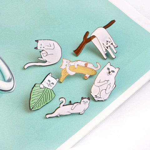 6PCS/Set Funny Cats Metal Brooch Pins Badge