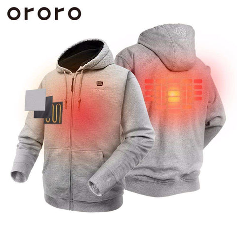 ORORO Mens Grey Heated Hoodies