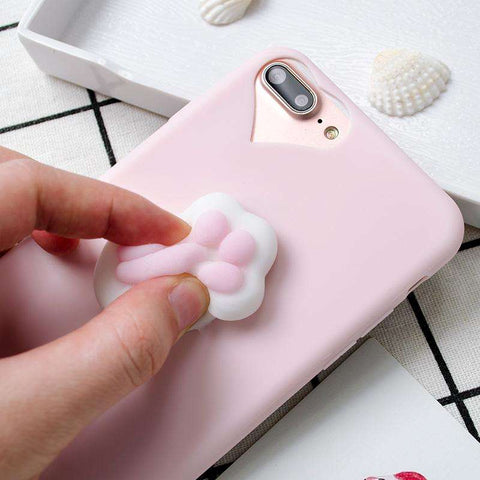 Lovely Squishy 3D Cat paw Case