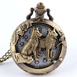 Bronze Two Happy Wolves Pocket Watch - Tooty Store