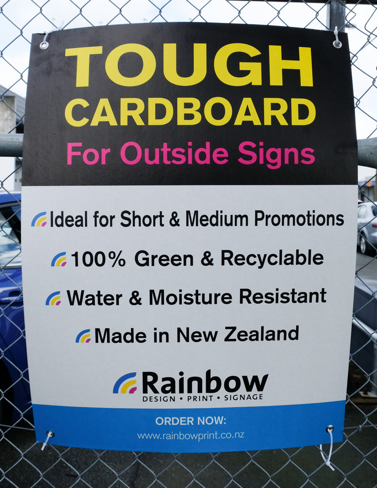 TOUGH CARDBOARD FOR OUTSIDE SIGNS