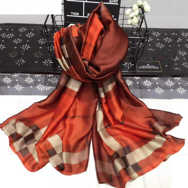 Fashion Plaid Silk Luxury Scarf