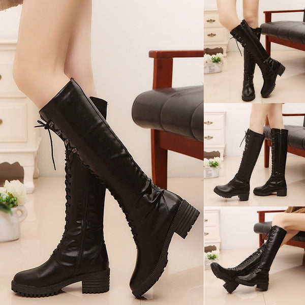 Leather Lace-Up Round Toe Boots