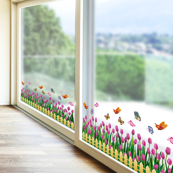 Flowers Glass Sticker Decoration