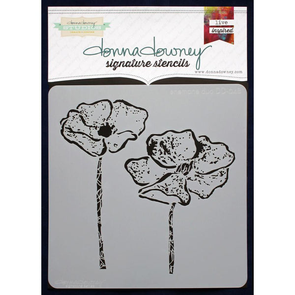 Donna Downey Signature Stencils - 8.5x8.5 - Anemone Duo