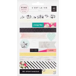 Pink Paislee - C'est La Vie - Washi Shape Stickers 3/Sheets