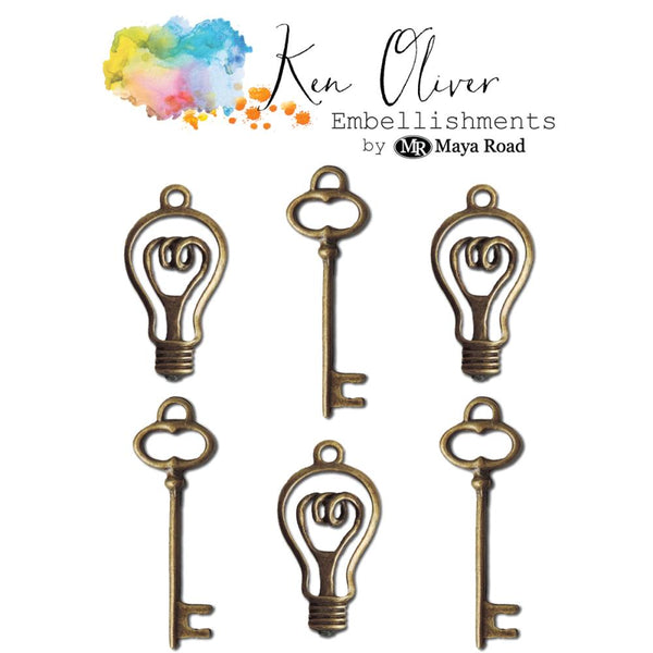 Ken Oliver - Metal Embellishments - Vintage Bulbs & Keys, 6/pk
