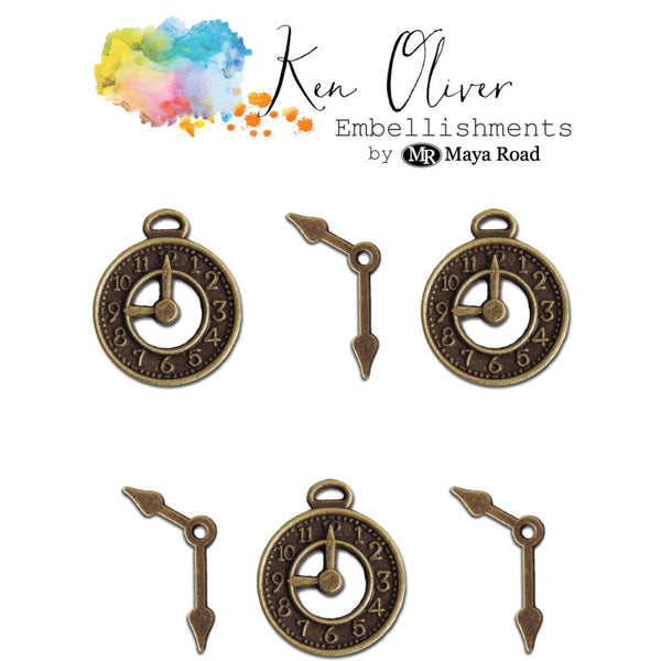 Ken Oliver - Metal Embellishments - Vintage Clocks & Hands, 6/pk
